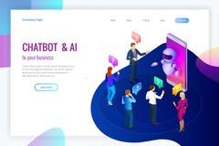 Isometrische kunstmatige intelligentie Praatje bot en toekomstige marketing AI en bedrijfsiot concept Bemant en vrouwen het babbe Stock Foto