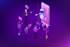Isometrische kunstmatige intelligentie Praatje bot en toekomstige marketing AI en bedrijfsiot concept Bemant en vrouwen het babbe Royalty-vrije Stock Afbeelding
