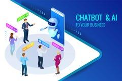 Isometrische kunstmatige intelligentie Praatje bot en toekomstige marketing AI en bedrijfsiot concept Bemant en vrouwen het babbe Stock Afbeeldingen