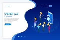 Isometrische kunstmatige intelligentie Praatje bot en toekomstige marketing AI en bedrijfsiot concept Bemant en vrouwen het babbe Stock Afbeelding