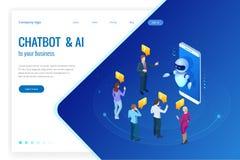 Isometrische kunstmatige intelligentie Praatje bot en toekomstige marketing AI en bedrijfsiot concept Bemant en vrouwen het babbe Royalty-vrije Stock Foto's