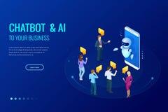 Isometrische kunstmatige intelligentie Praatje bot en toekomstige marketing AI en bedrijfsiot concept Bemant en vrouwen het babbe Royalty-vrije Stock Foto