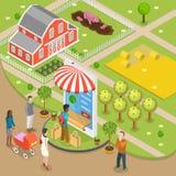 Isometrische lage poly vectorconcept van de natuurvoeding het online orde vlak royalty-vrije illustratie