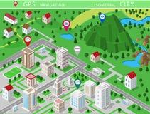 Isometrische Landschaften mit Stadtgebäuden, -dorf, -straßen, -parks, -ebenen, -hügeln, -bergen, -seen, -flüssen und -wasserfall  lizenzfreie abbildung