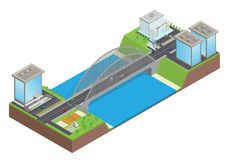 Isometrische Landstraße auf der Brücke über dem Fluss stock abbildung