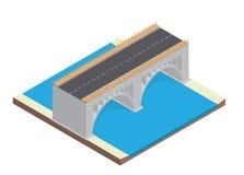 Isometrische Landstraße auf der Brücke stock abbildung