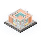 Isometrische Lebensmittel-Markt-Gebäude-Vektor IllustrationIsometric-Lebensmittel-Markt-Gebäude-Vektor-Illustration Stockfotos