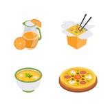 Isometrische Lebensmittelikonen lizenzfreie abbildung