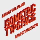 Isometrische lettersoort Stevige doopvont Geïsoleerd Engels 3d alfabet Royalty-vrije Stock Foto