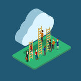 Isometrische Leute des flachen Netzes 3d, die infographic Konzept der Wolke verwenden Stockfoto