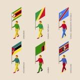 Isometrische Leute mit Flaggen: Simbabwe, Sambia, Mosambik Stockbild