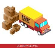 Isometrische leveringsauto en reeks kartondozen Isometrische Vectorillustratie Stock Afbeeldingen