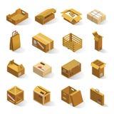 Isometrische leveringsdozen Stock Foto's