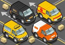 Isometrische Leveringsvrachtwagen en Taxi in Front View Stock Foto