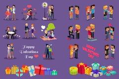 Isometrische Liebes-Herzen der Familien-3d Liebevolle Paare Lizenzfreie Stockfotos