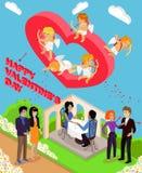 Isometrische Liebes-Herzen der Familien-3d Liebevolle Paare Stockfoto