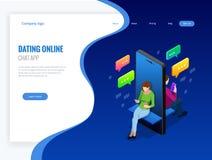 Isometrische on-line-Datierung und Social Networking-Konzept Jugendlichsucht zu den Tendenzen der neuen Technologie Jugendlichpla Stockbild
