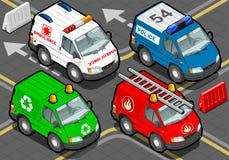 Isometrische LKW-Feuerwehrmänner, Polizei, Krankenwagen, Müllmann Lizenzfreie Stockbilder