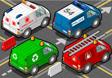 Isometrische LKW-Feuerwehrmänner, Polizei, Krankenwagen, Müllmann Stockfotografie