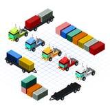 Isometrische LKWs mit Behälter-Vektor-Illustration Lizenzfreies Stockbild