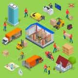 Isometrische Logistik und Lieferung Infographics Lieferungshaus und -büro Lager, LKW, Gabelstapler, Kurier, Brummen und stock abbildung