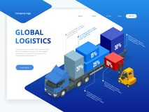 Isometrische logistische infographic Schablone mit rechtem LKW-Laden und -gabelstapler Prüfung des Lieferungs- und ligisticsservi stock abbildung