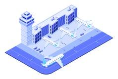 Isometrische luchthaventerminal Jet op baan, de reis van de vliegtuigenvlucht en de toren 3d vector van de verkeerscontrole stock illustratie