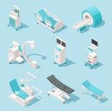 Isometrische medische apparatuur Het ziekenhuis kenmerkende hulpmiddelen 3d de machines vectorreeks van de gezondheidszorgtechnol vector illustratie
