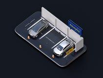Isometrische mening van elektrische auto's met auto die aanplakbord op smartphone delen Zwarte achtergrond vector illustratie