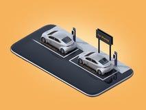 Isometrische mening van zilveren elektrische auto's met auto die aanplakbord op smartphone delen stock illustratie