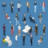 Isometrische mensen in bureau stock illustratie