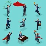 In isometrische mensen, 3d zakenman, concept met jonge zakenman, geld, toekenning, succes, vreugde, het werk, beweging, opstarten vector illustratie