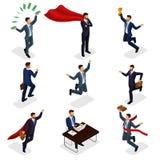 In isometrische mensen, 3d zakenman, concept met jonge zakenman, geld, toekenning, succes, vreugde, het werk, beweging, opstarten stock illustratie