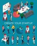 In isometrische mensen, 3d zakenman, concept met jongeren, jong team die van specialisten, opstarten, brainstorming creëren stock illustratie