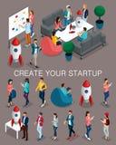 In isometrische mensen, 3d zakenman, concept met jongeren, jong team die van specialisten, opstarten, brainstorming creëren royalty-vrije illustratie