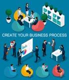 In isometrische mensen, 3d zakenman, concept met jongeren, jong team van beroeps, bedrijfsverwezenlijking, brainstorming stock illustratie
