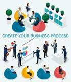 In isometrische mensen, 3d zakenman, concept met jongeren, jong team van beroeps, bedrijfsverwezenlijking, brainstorming vector illustratie