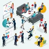 In isometrische mensen, 3d zakenman, concept met jongeren, ontwikkeling van opstarten, team van specialisten, studenten vector illustratie