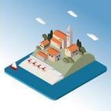 Isometrische Mittelmeerlandschaft durch Meer, wenig Stadt, stock abbildung