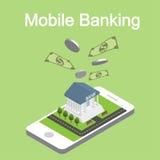 Isometrische mobiele Internet-bankwezenvector Stock Afbeelding
