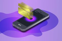 Isometrische mobiele telefoon, Internet-online bankieren De isometrische bescherming het winkelen radio betaalt met smartphone stock illustratie