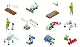 Isometrische moderne slimme industri?le serre Reeks Kunstmatige intelligentierobots in landbouw Zonnebloemzaden - zaadfonds royalty-vrije illustratie