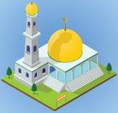 Isometrische moskee stock illustratie