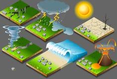 Isometrische natuurramp Stock Afbeeldingen