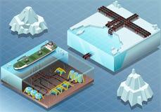 Isometrische Noordpool Onderzeelandbouwbedrijf en Buizen Stock Afbeeldingen