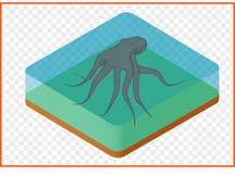 Isometrische octopusvector Royalty-vrije Stock Foto