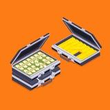 Isometrische open aktentassen met de gouden bars en stock illustratie