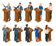 Isometrische openbare woordvoerder die van tribune spreken Bedrijfsleider die openbare presentatietoespraak maken bij tribune met vector illustratie