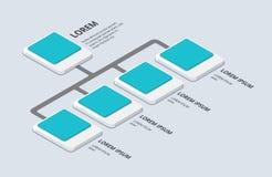 Isometrische Organisation und sturcture flacher Knall-u der Organisation 3d Stockfoto