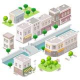 Isometrische Oude stad Stock Illustratie